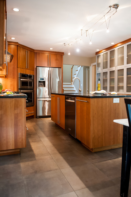 Beautiful kitchen,What type of wood are the cabinets made of?