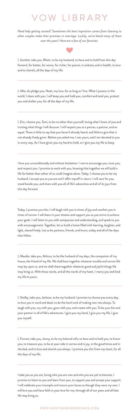 17 Best images about Wedding Vows on Pinterest   Examples