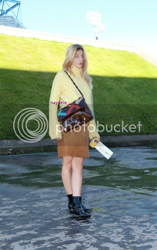 Ada Kokosar wearing Stella McCartney sweater and faux patent leather shoes