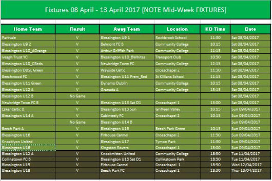BFC Fixtures including midweek 8 – 12th Apr