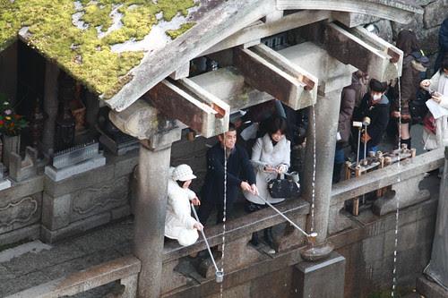 Three spring water flowing in Kiyomizu temple