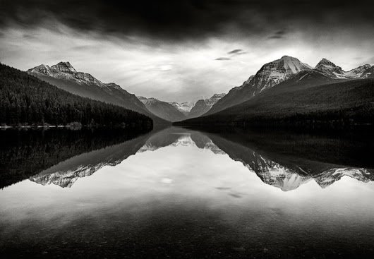 Bowman Lake Reflections - Black and White Landscape Photography by Jay Wesler