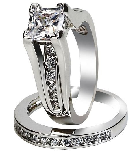 Classy Womens Stainless Steel Princess Cut Wedding