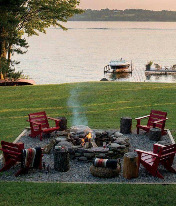 Fire Pit by Lake