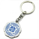 Sonline Classical Chinese Porcelain Metal Keychain Pendant,White And Blue