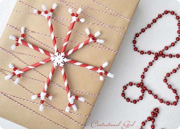 Paper Straw Snowflake with Kraft Paper and Twine from Centsational Girl