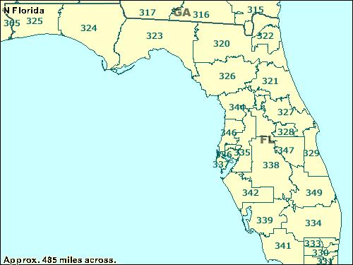 on zip code map of florida
