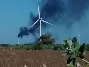 Incêndio aconteceu no distrito de Baixinho dos Franças, onde funciona o parque eólico (Foto: Amauri Reinaldo/Parazinho na Mídia)