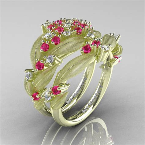 Nature Classic 14K Green Gold Pink and White Sapphire