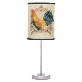 Vintage Style French Country Rustic Barn Rooster Desk Lamp