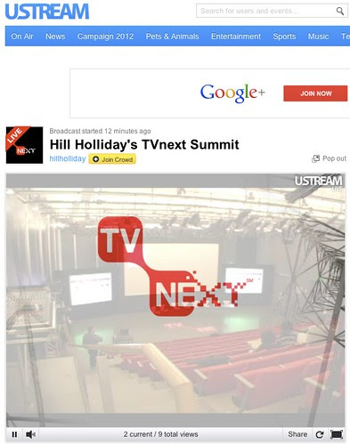 Hill Holliday's TVnext Summit on USTREAM: February 27, 2012 @ 9:30am (EST) by stevegarfield