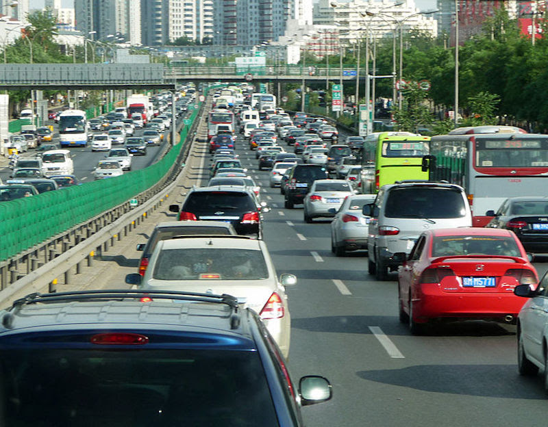 Beijing traffic jam. Credit: basykes. Wiki Commons. (CC BY 2.0)