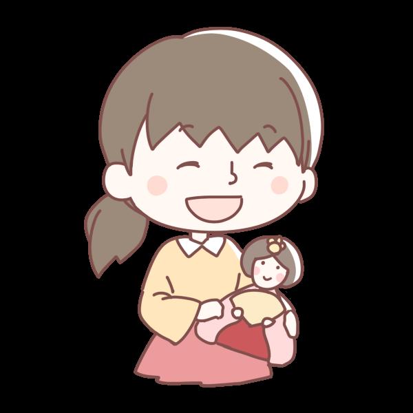 ひな人形をもつ女の子のイラスト かわいいフリー素材が無料のイラスト