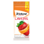 Trident Layers Strawberry Citrus (3-Pack), 14-Sticks Per Pack
