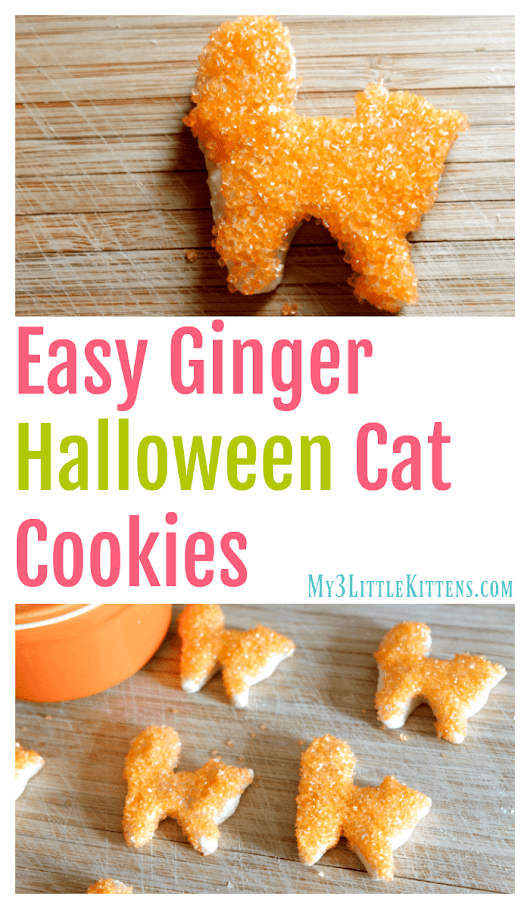 Easy Ginger Halloween Cat Cookies - My 3 Little Kittens