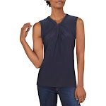 Tommy Hilfiger Womens Knot Keyhole Casual Top Navy