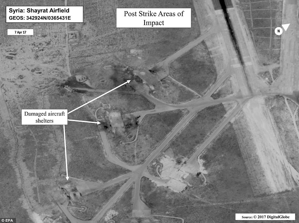 Destruction: These  images show the extent of the destruction wrought on Syria's al-Shayrat military airfield by US Tomahawk missiles on Thursday. Note the holes punched through the tops of the thick concrete aircraft shelters
