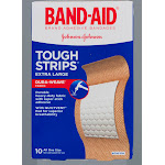 Band-Aid Tough-Strips Adhesive Bandages, XL - 10 count