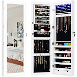 Door Mounted Lockable Mirrored Jewelry Cabinet with LED Lights | Costway