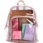 Juvale Clear Mini Backpack for Girls, Women | School, Sporting Events, Stadium Approved | (Rose Gold, Small)