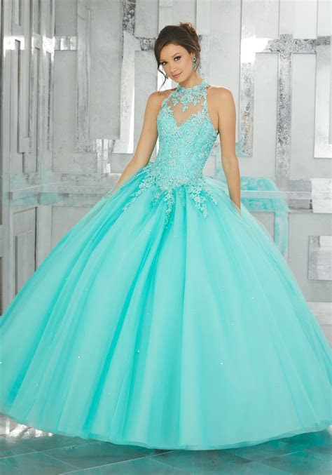 Beaded Lace Appliqués on a Tulle Ball Gown   Style 60023