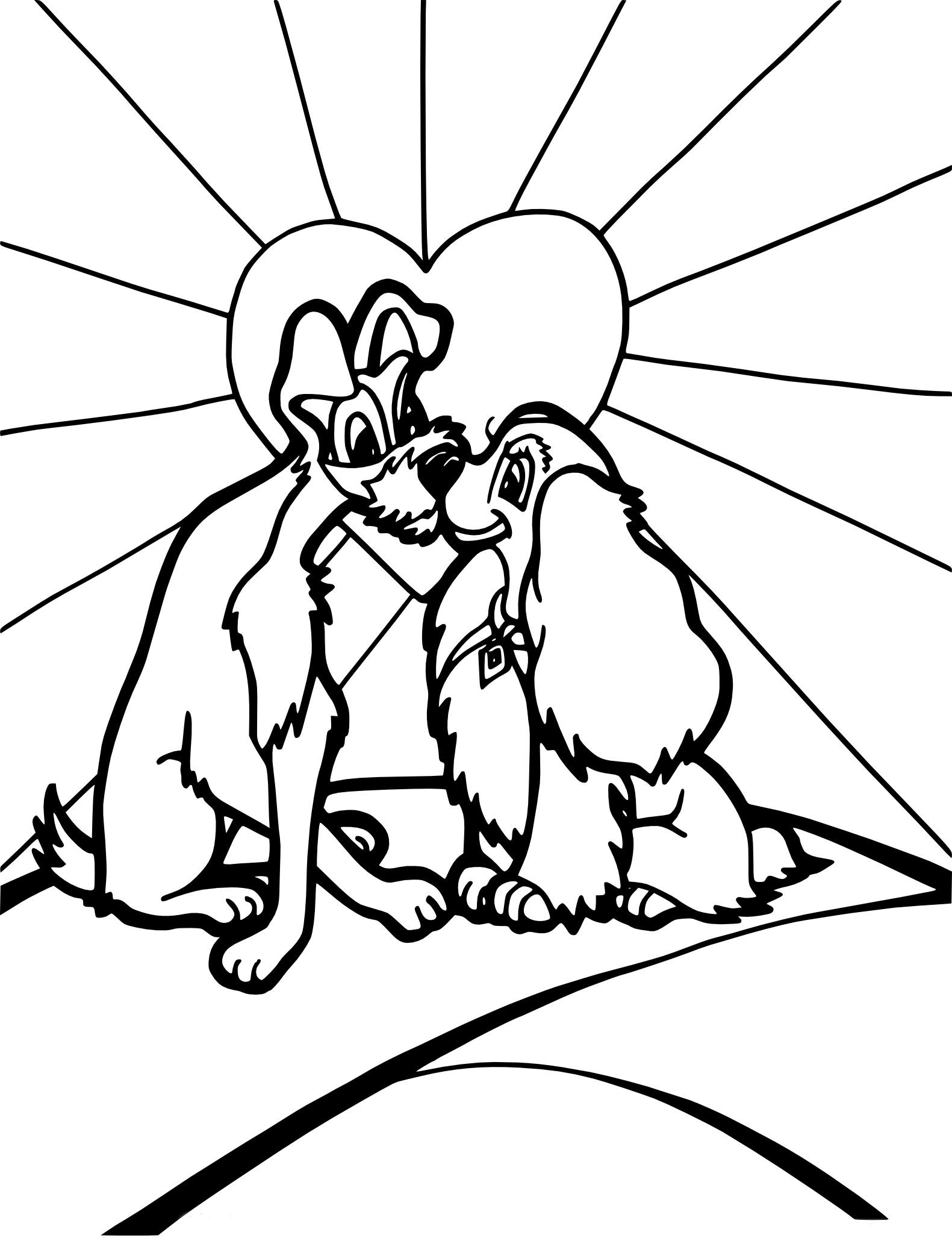 Coloriage d amour de chien