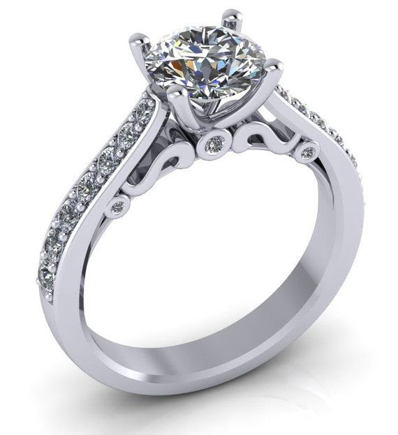 14k white gold moissanite engagement ring, moissanite wedding ring, style 107WM