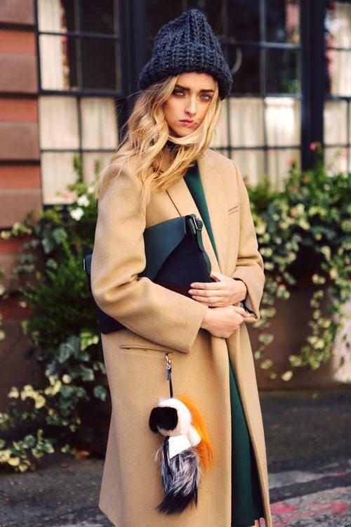 Camel coat + beanie