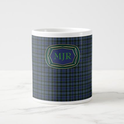 Greens Blues Scottish-style Tartan Plaid Monogram Extra Large Mugs