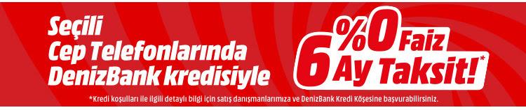 Seçili Cep Telefonlarında Denizbank Kredisiyle %0 Faiz 6 Ay Taksit!