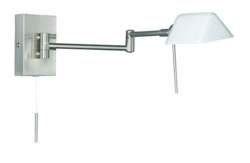 trio halogen gelenkarm wandleuchte mit schnurschalter nickel matt glas opal ausleuchtung 48 cm. Black Bedroom Furniture Sets. Home Design Ideas