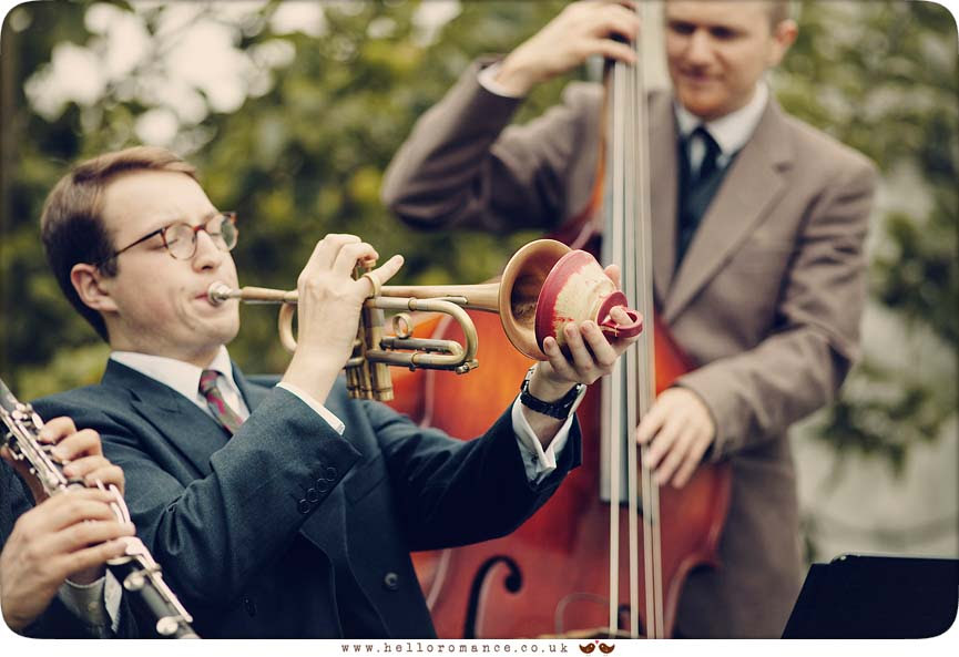 Benoit Viellefon and his Orchestra (Jazz Band) at rustic vintage Suffolk wedding - www.helloromance.co.uk