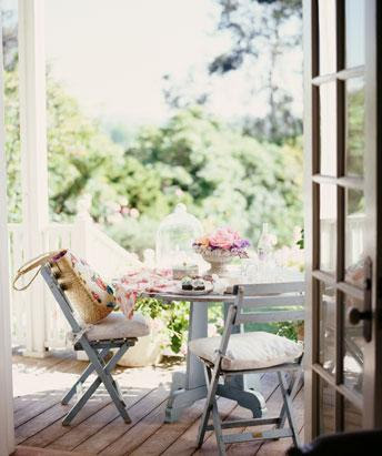Cafe Table and Chairs - Cottage - porch - Reed Davis Photography