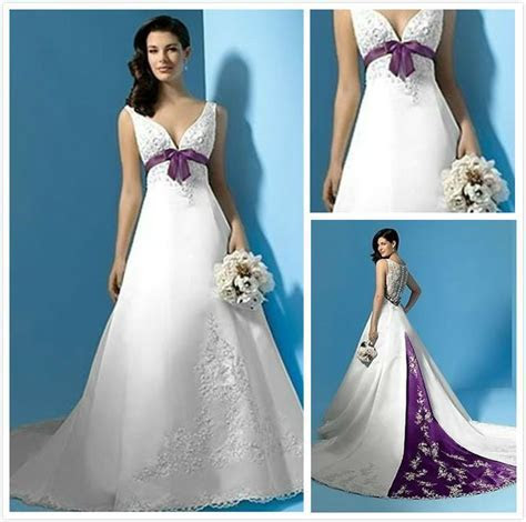 Purple And Ivory Wedding Dresses With Color Accents Satin
