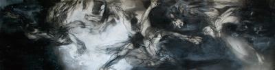 曜石〉,2016  壓克力  炭精  紙本  114x452cm
