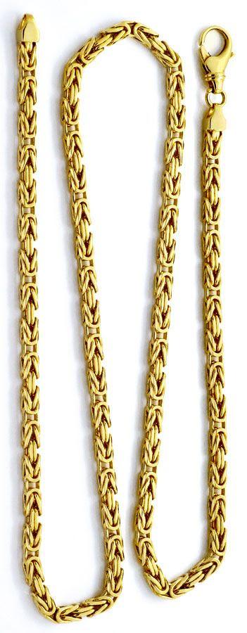 Foto 3, Königskette Goldkette massiv Gelbgold 14K/585 Karabiner, K2208