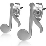Stainless Steel Silver-Tone Classic Music Musical Clef Note Small Stud Earrings
