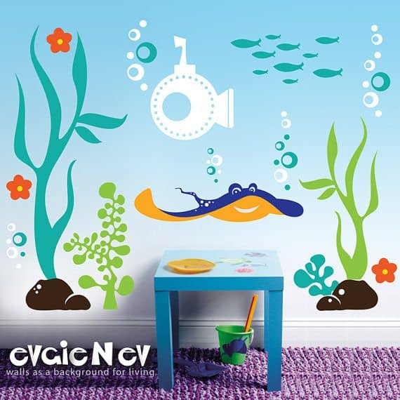 Win A $150 Evgie Wall Decals Gift Card + Easily Decorate Your Walls underwater