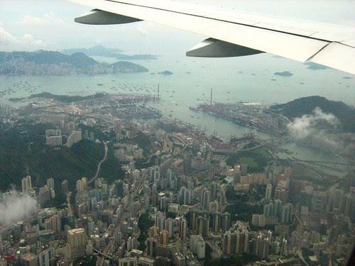 Flying past Hong Kong