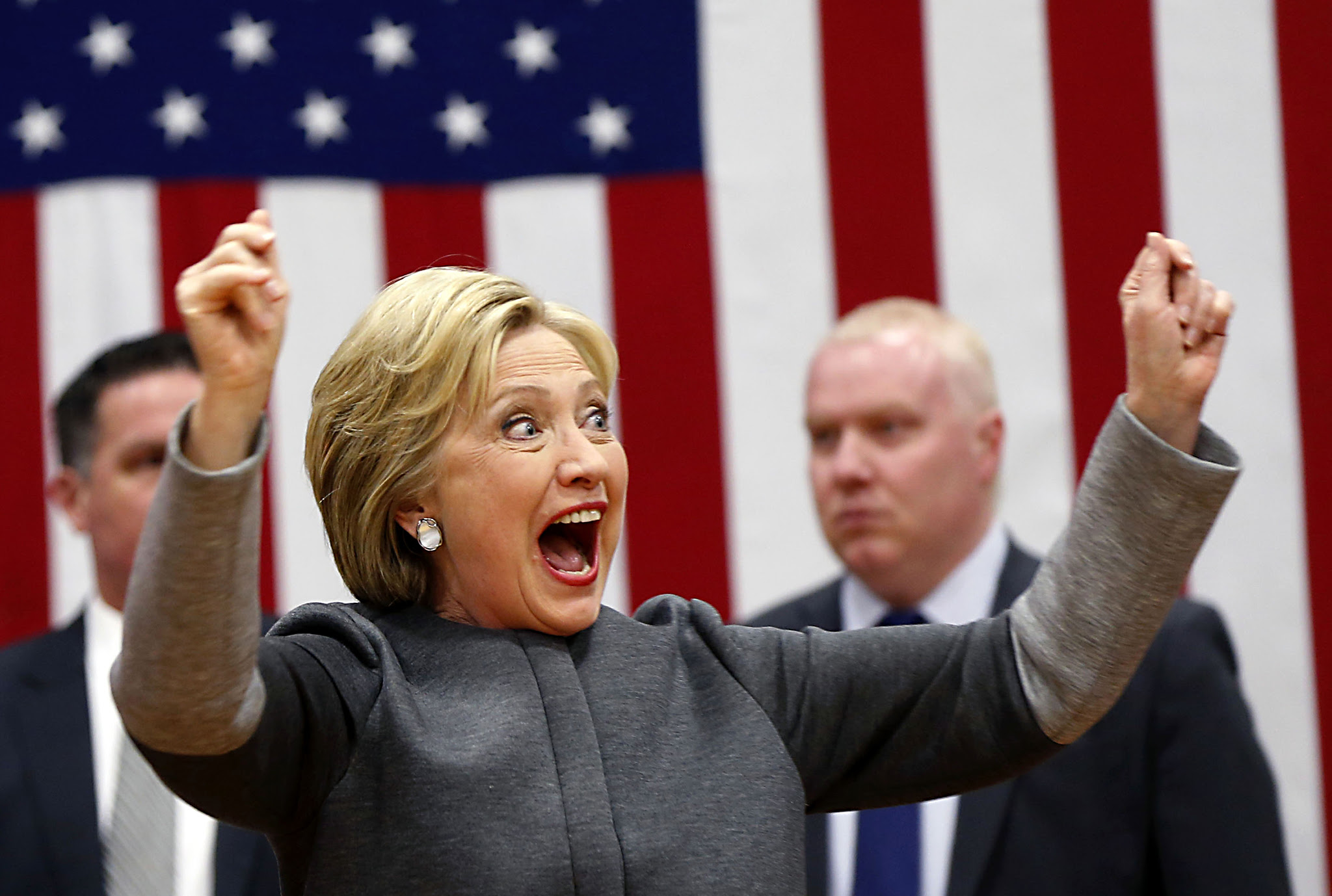 "Hillary Clinton...Democratic presidential candidate Hillary Clinton acknowledges the crowd as she arrives to speak at a ""Get Out The Vote"" campaign rally in Norfolk, S.C., Monday, Feb. 29, 2016. (AP Photo/Gerald Herbert)"