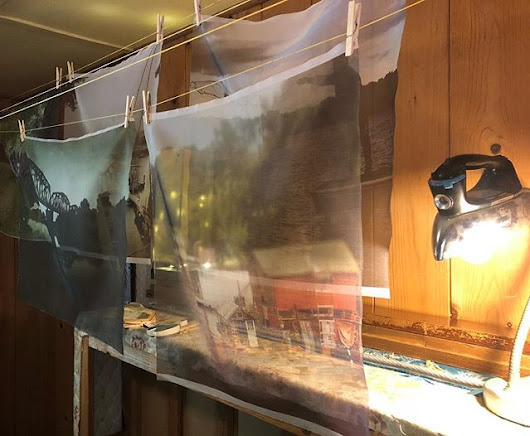 Secret History photos printed on silk organza for NYC show at @whiteboxny