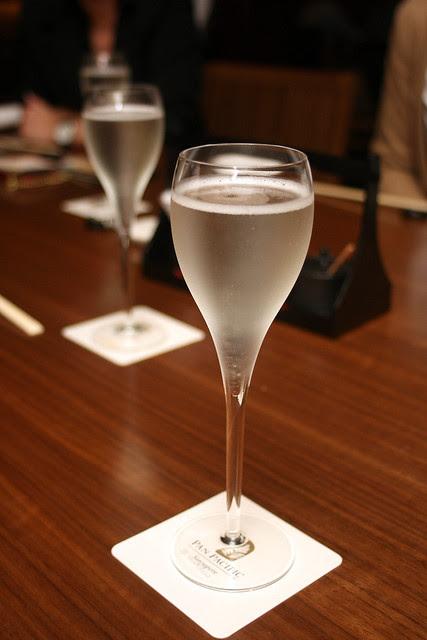 Sparkling sake at Keyaki