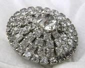 Vintage Rhinestone Brooch Pin Unsigned Beauty Wedding Jewelry Tiered Design
