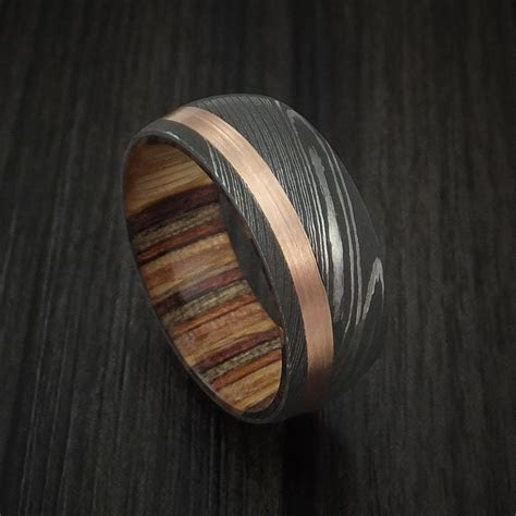 Damascus Steel and 14k Rose Gold Ring with Hardwood Sleeve