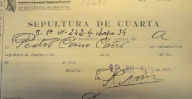 Orden de inhumación de Pedro Cano