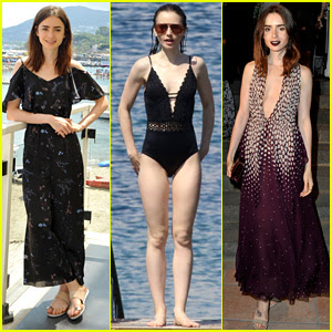 Lily Collins Takes a Swim Break In Between Ischia Events!