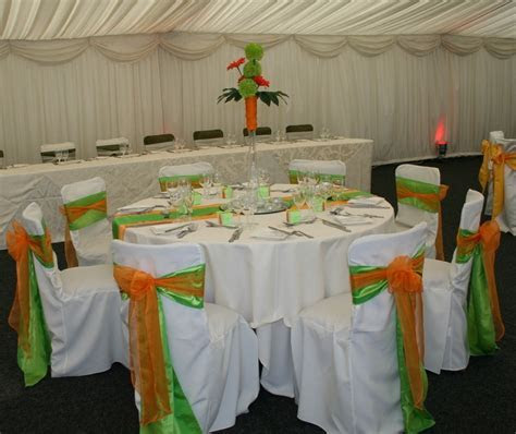 Lime Green & Orange Theme with Green/ Orange Table Centre