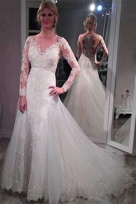Long Sleeves Sheer Lace Wedding Dresses Bridal Gowns 3030016