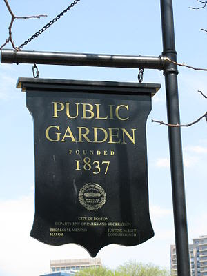 Entrance sign to the Boston Public Gardens