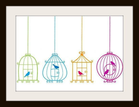 Colorful Birds and Birdcages Cross Pattern, Cross Stitch Pattern, Counted Cross Stitch, Needlepoint Pattern, Bird Cross Stitch Pattern